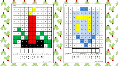 Using beginning sounds instead of numbers, students will color the code and discover a hidden picture.
