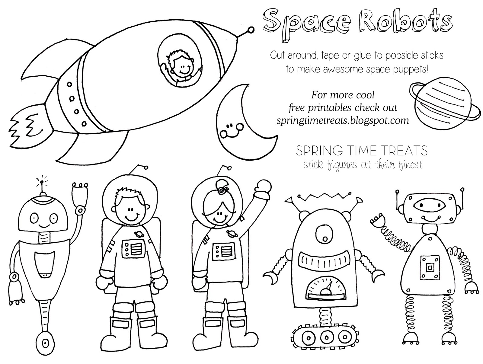 Spring Time Treats: Paper Puppets FREE (Space Robots