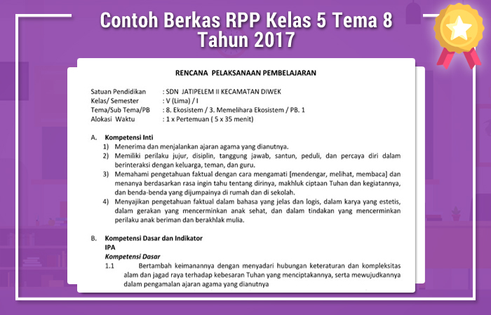 Contoh Berkas RPP Kelas 5 Tema 8 Tahun 2017