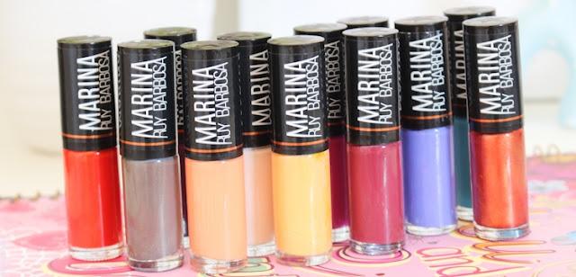 A Coleção da Marina Ruy Barbosa é composta por doze cores, nove delas com cobertura cremosa e três com cobertura perolada. Essa coleção foi lançada