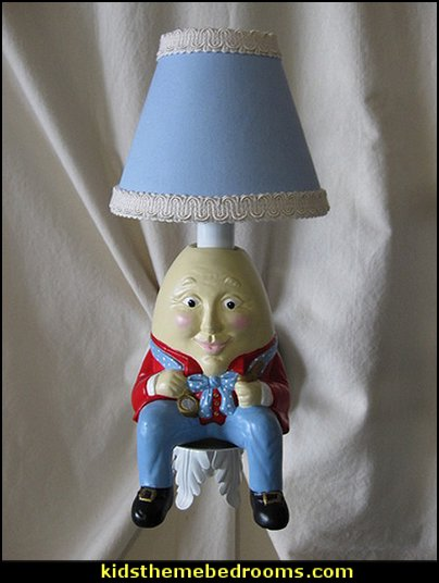 Humpty Dumpty Wall Sconce  nursery rhyme bedroom ideas - storybook bedrooms - twinkle twinkle baby nursery decorating ideas - counting sheep baby bedroom ideas - Humpty Dumpty decor - Mother Goose wall decals - Nursery Rhymes wall murals - Nursery Rhyme lamb bed for toddlers counting ducks  - counting sheep - celestial themed baby nursery - magical baby unicorns - moon stars nursery decor -