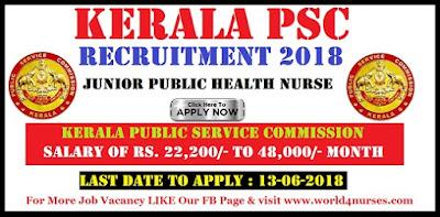 Kerala PSC Recruitment 2018 – Junior Public Health Nurse Jobs