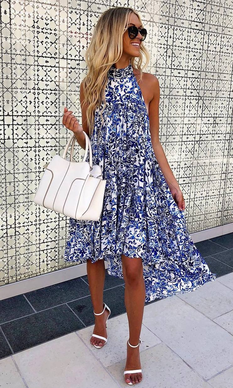 best summer outfit / printed dress and white dettails