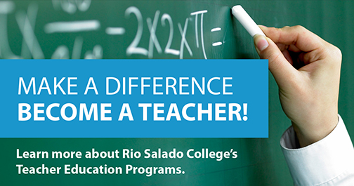 Image of a teacher's hand writing out a math formula on a green chalkboard.  Text: Make a Difference.  Become a Teacher.  Learn more about Rio Salado's Teacher Education Programs.
