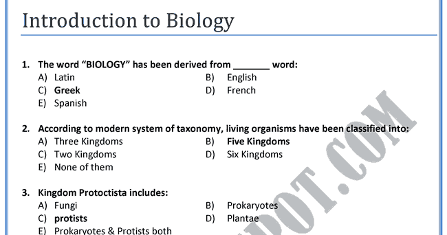 Introduction To Biology Quizlet Ch