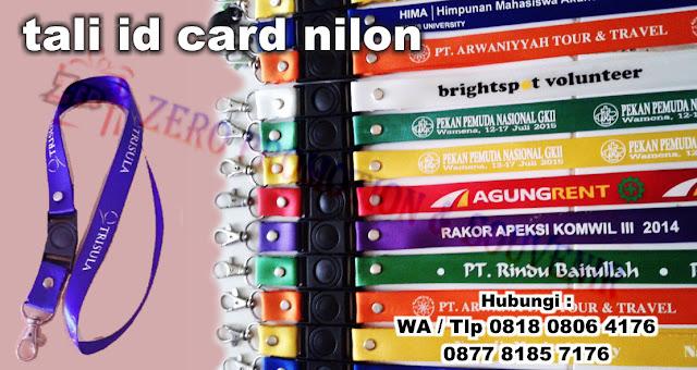 Tempat pembuatan tali id card di tangerang produksi : Lanyard Nylon, Tali Id Card Nilon, Tali ID Card bahan nilon, lanyard nilon kilap dengan sablon logo dan harga termurah