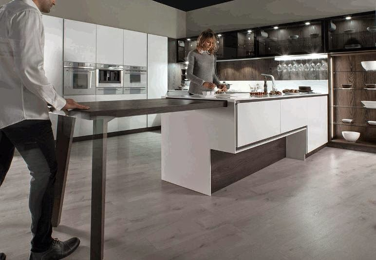 12 ideas para hacer m s c modo el trabajo en la cocina cocinas con estilo - Isla de cocina con mesa ...