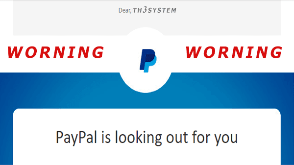 (WORNING) PayPal is looking out for you (You will need to reset your password to access your PayPal account.)