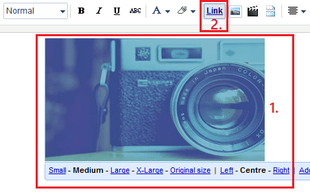 Removing image hyperlink using blogger editor