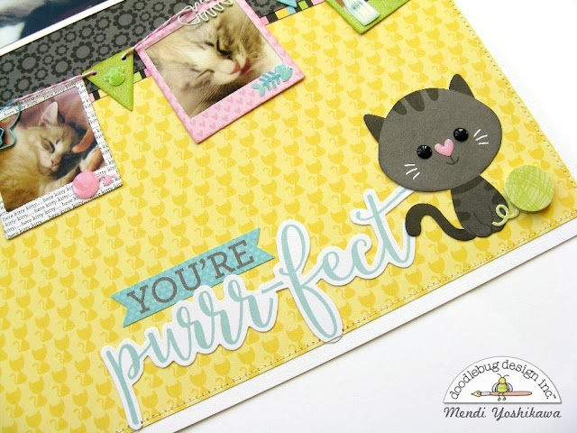 Doodlebug Design Kitten Smitten Purrfect Cat Layout by Mendi Yoshikawa.