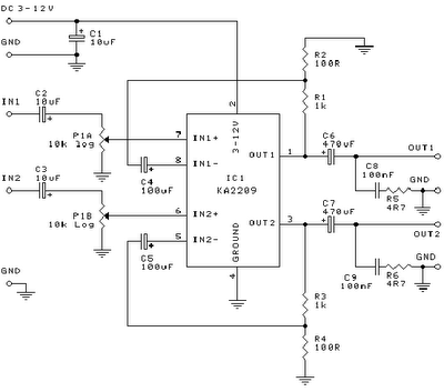 1 W Home Stereo Amplifier Circuit Diagram