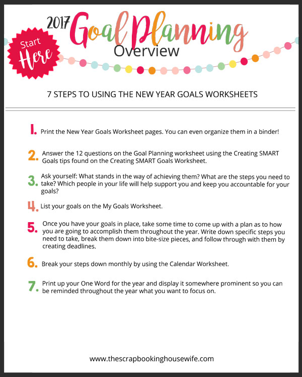 The Scrapbooking Housewife HOW TO MAKE YOUR GOALS SUCCEED – Smart Goals Worksheet