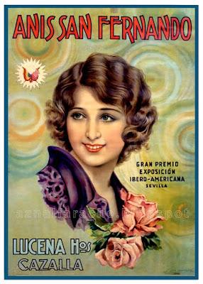 Cartel publicitario de Anís San Fernando de Lucena Hermanos 1930 - CAZALLA - Juan José Barreira Polo