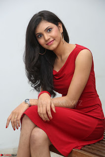 Mounika Telugu Actress in Red Sleeveless Dress Black Boots Spicy Pics 021.JPG