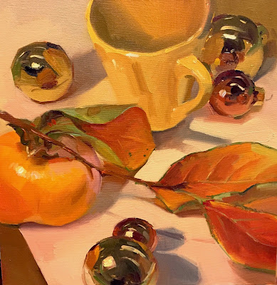 Persimmon christmas ornament oil painting still life by Sarah Sedwick