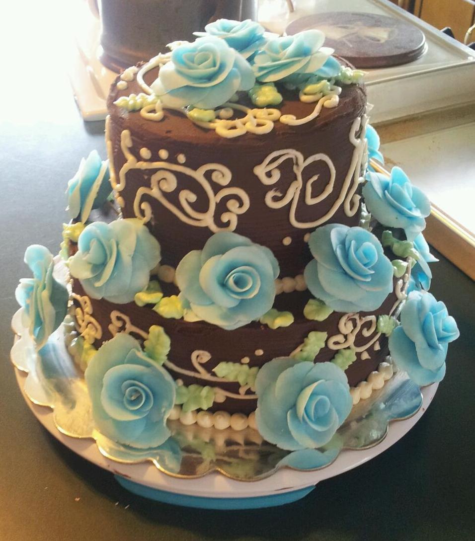 Reza S Cakery Sheila S 50th Birthday Blue Rose Cake