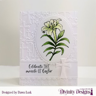 Divinity Designs Stamp Set: Miracle of Easter, Embossing Folder Die/Duo: Cross, Custom Dies: Scalloped Ovals, Ovals, Bitty Borders