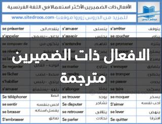 الافعال ذات الضميرين في اللغة الفرنسية مترجمة الى العربية