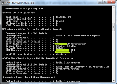 A sample ipconfig /all command to display ip configuration