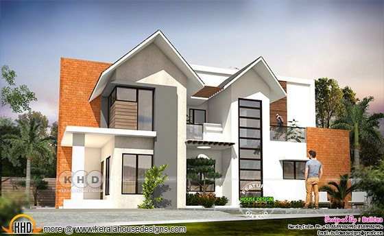 2167 square feet 4 bedroom mixed roof modern home design
