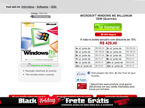 black friday brasileira 2012 liquidacao windows me