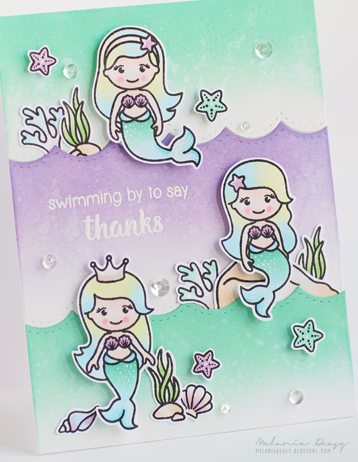 Sunny Studio Stamps: Magical Mermaids Swimming By To Say Thanks Aqua & Lavender Card by Melania Deasy.