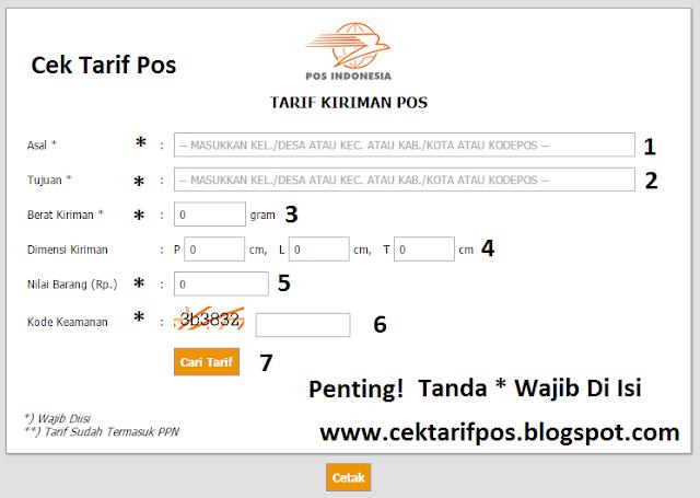 Cek Tarif Pos Indonesia