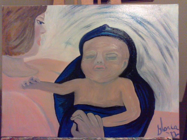 """Mother & newborn"" painting in oils by Gloria Poole of Missouri"