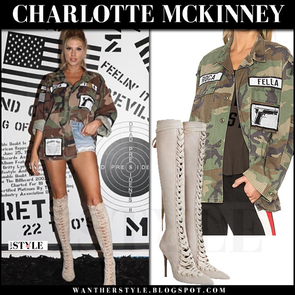 Charlotte McKinney in camo print jacket madeworn and lace up long boots zimmermann what she wore may 31 2017