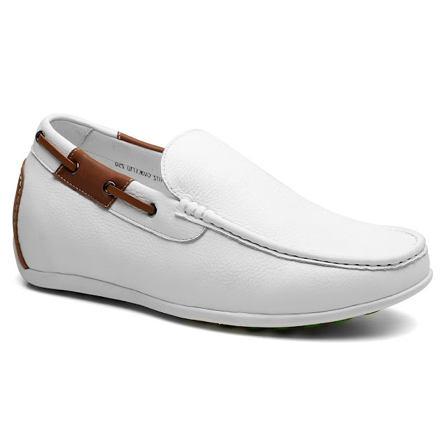 White Boat Shoes That Add Height Invisible Heels For Men Fashion Shoes With Hidden Heel 6 CM