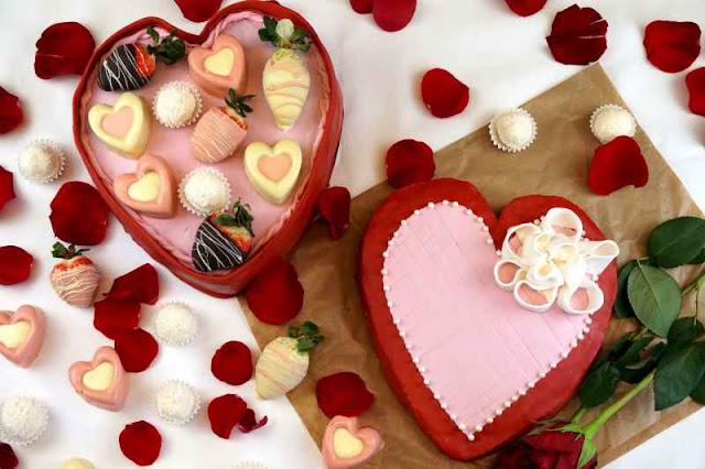 Tarta de San valentín con forma de caja de bombones