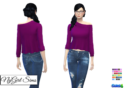 NyGirl Sims 4: Off Shoulder Flare Sweater Plain