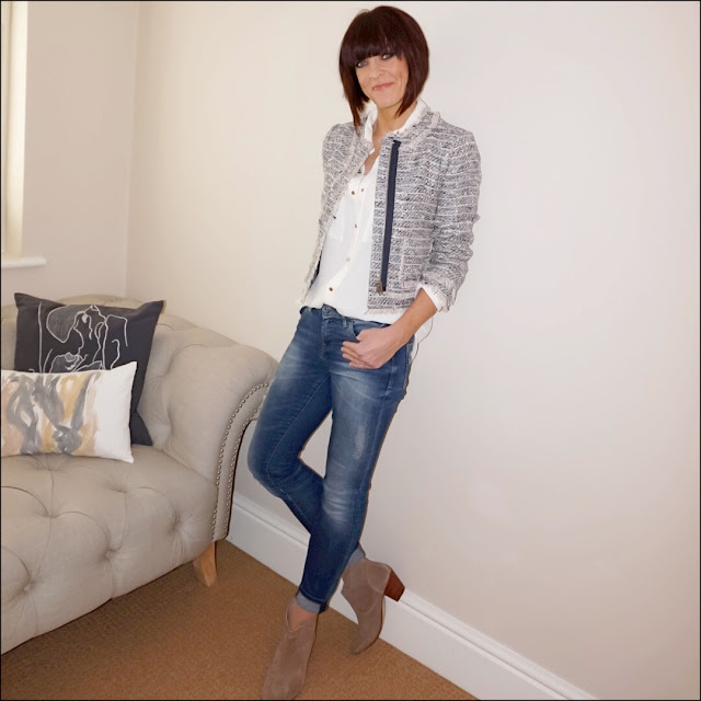 My Midlife Fashion, J Crew frayed tweed ladies jacket, zara cream military shirt, zara distressed skinny jeans, hudson kiver ankle boots
