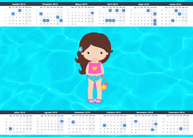 Calendario 2015 para imprimir gratis de Fiesta en la Piscina para Niña Morena.