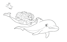 Mermaid And Dolphin Coloring Pages Animals