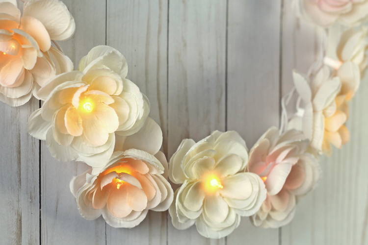 DIY Floral Garland With Lights
