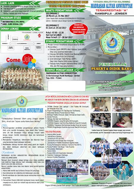 Penerimaan Peserta Didik Baru (PPDB) MA ANNURIYYAH 2017/2018