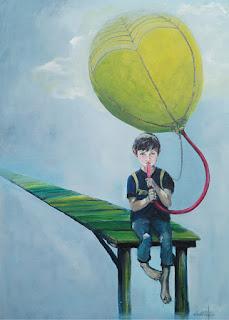 kunst, maleri, glade farver, positiv,dreng, at turde tro på sig selv, ambitioner, viljestyrke, art, luftballon