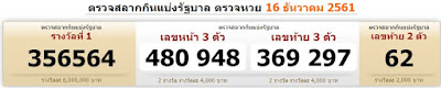 Thai Lotto Result Today For 16-12-2018