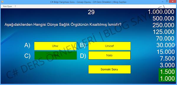 C# Bilgi Yarışması Soru - Cevap Oyunu