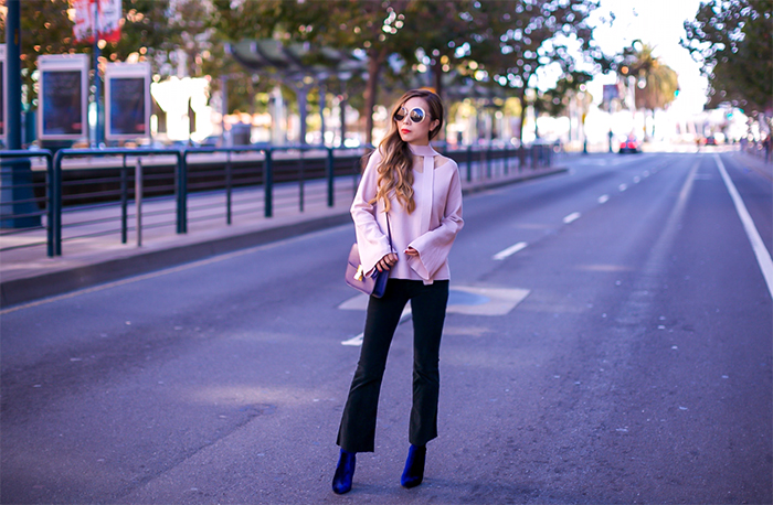 Chicwish Comfort of Your Roam Longline Cardigan in Off white, chic wish cardigan, cardigan, chic wish Soft Bell Sleeves Vneck Sweater in Pink, v neck sweater, pink sweater, celine classic box, j brand jeans, cropped and flare jeans, velvet ankle booties, steve madden ankle booties, chloe sunglasses, san francisco street style, san francisco fashion blog, fall layering, how to layer in Fall