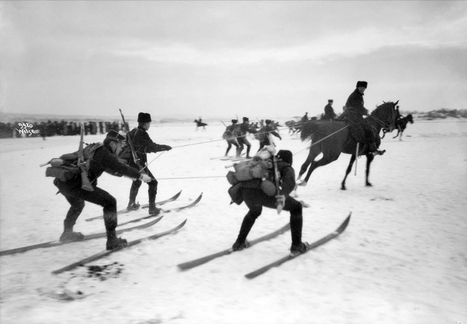 Skijoring in Norway, 1909.