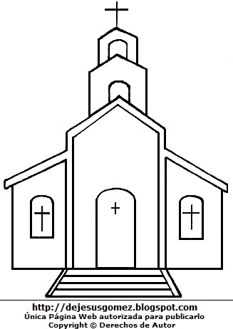 Iglesia para colorear o dibujar para niños. Dibujo de iglesia hecho por Jesus Gómez