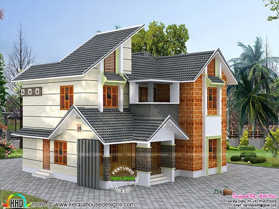 Kerala style mix modern double height house