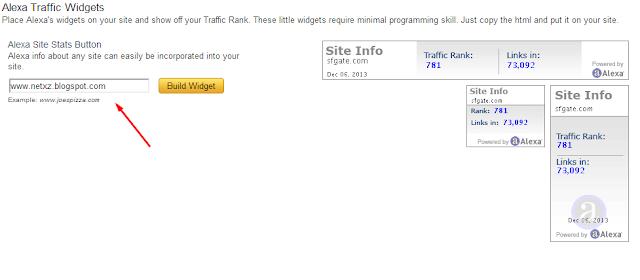 maskuan url blogg anda di kolom build widget