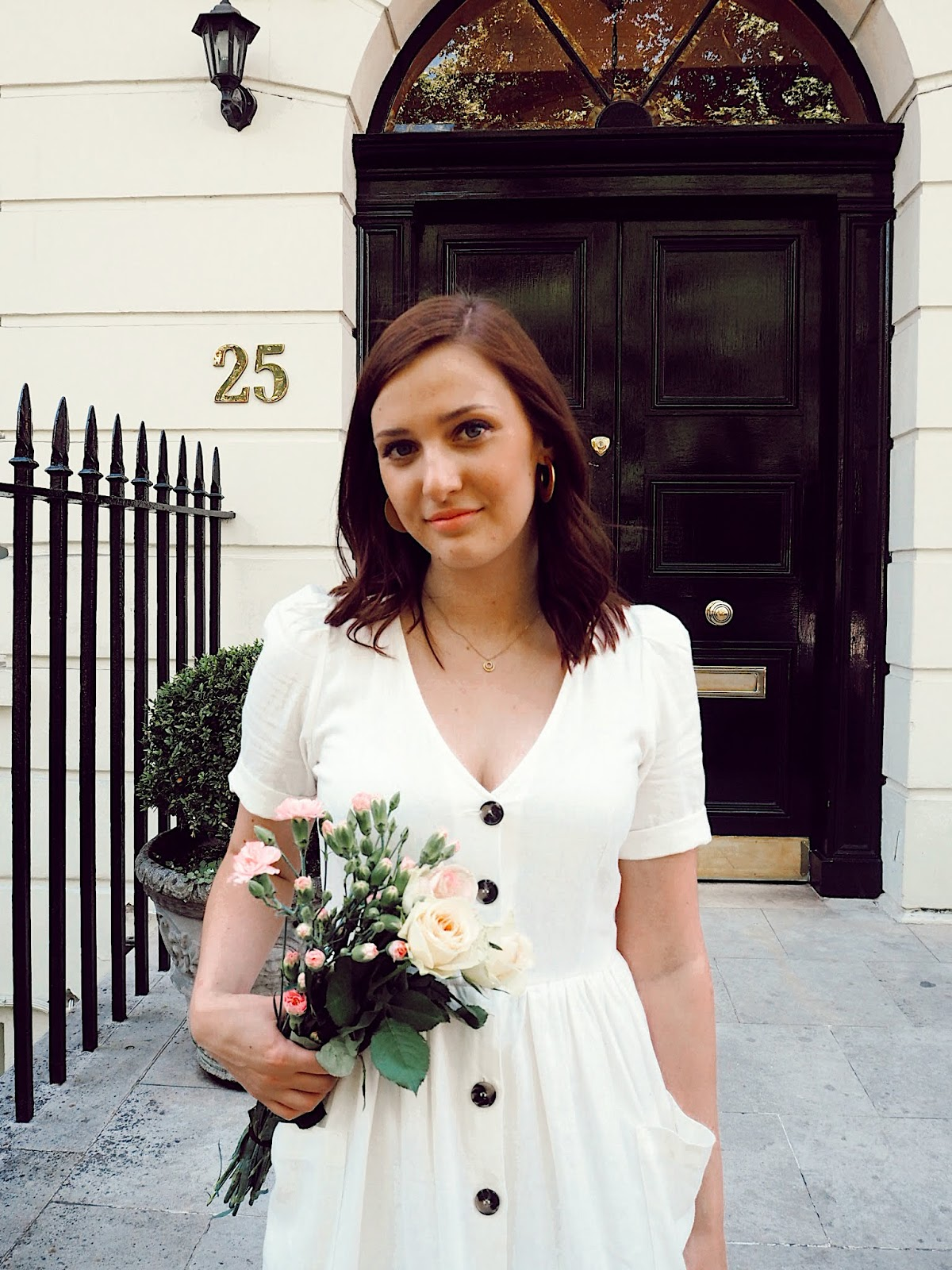 Zara White Button Through Linen Dress - Summer Style // Lauren Rose Style // Street Style London Blogger OOTD