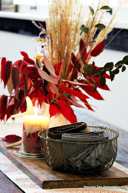 fall decor, wire basket, antlers, centerpiece, autumn, http://bec4-beyondthepicketfence.blogspot.com/2015/09/ushering-in-autumn-bit-by-bit.html
