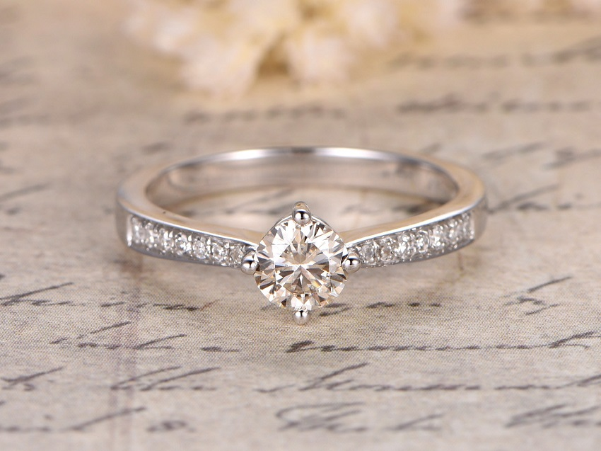 Simple Tips in Buying Couple, Promise, Engagement and Wedding Rings | Moissanite Engagement Rings: 5 mm Round cut 0.5ctw Moissanite and Diamond Engagement Ring 14K White Gold Unique 4-prong
