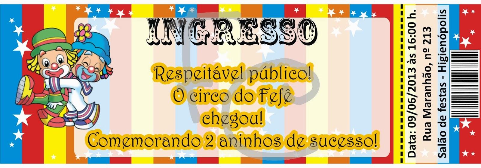 Convite Ingresso - Patati Patata