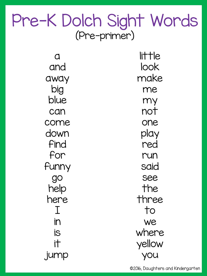 Dolch Sight Words: Free Flash Cards and Lists for Dolch High ...